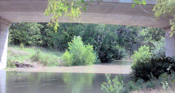 455 cfs at Walnut Creek at Albert, KS on Aug. 12, 2013. Photo by Andrew Clark, USGS.