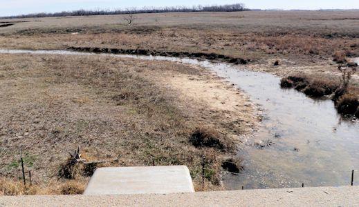 0.03 cfs at Rattlesnake Creek near Macksville, KS on Mar. 11, 2013. Photo by Chris Moehring, USGS.