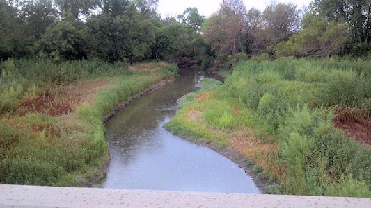 Cow Creek near Hutchinson, KS on Aug. 2, 2012. Photo by Sonja McDanel, USGS.