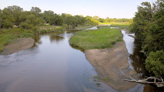 37.5 cfs at Arkansas River near Hutchinson, KS on July 18, 2012. Photo by Sonja McDanel, USGS.