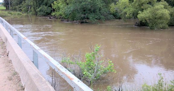 4,500 cfs at Little Arkansas River at Alta Mills, KS on July 30, 2013. Photo by Mike Holt, USGS.