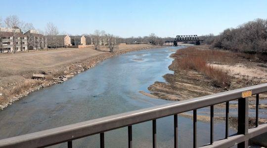 65.5 cfs at Arkansas River at Wichita, KS on Mar. 7, 2013. Photo by Slade Hackney, USGS.