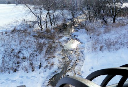 0.04 cfs at Calfskin Creek at 119th Street, Wichita, KS on Feb. 27, 2013. Photo by Chris Moehring, USGS.