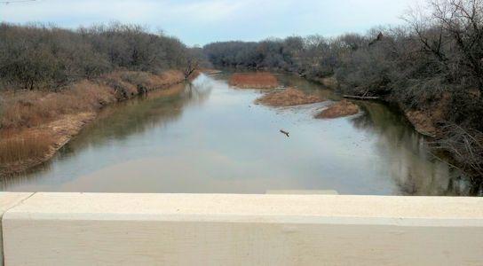 103 cfs at Ninnescah River near Peck, KS on Jan. 31, 2013. Photo by Slade Hackney, USGS.