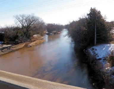 48 cfs at Medicine Lodge River near Kiowa, KS on Feb. 13, 2013. Photo by Chris Moehring, USGS.