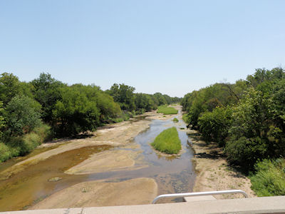 1.46 cfs at Chikaskia River near Corbin, KS on July 24, 2012. Photo by Chris Moehring, USGS.