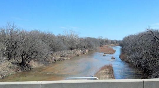 104 cfs at Chikaskia River near Corbin, KS on Mar. 13, 2013. Photo by Slade Hackney, USGS.