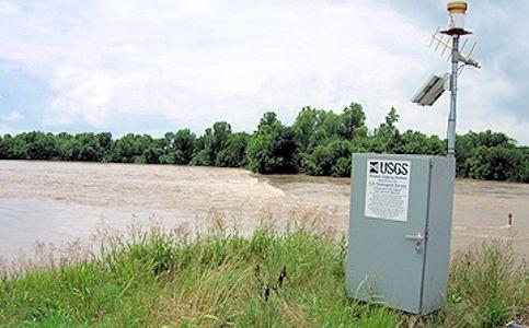52,900 cfs at Verdigris River near Altoona, KS on June 30, 2007. Photo by Dirk Hargadine, USGS.