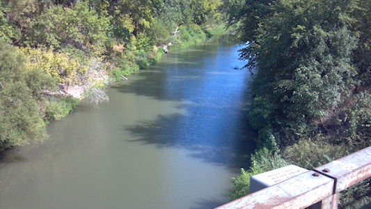 Neosho River near Dunlap, KS on Aug. 13, 2012. Photo by Duane Wilmes, USGS.