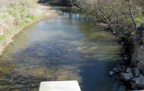 40 cfs at South Fork Cottonwood River near Bazaar, KS on Apr. 25, 2013. Photo by Chris Moehring, USGS.