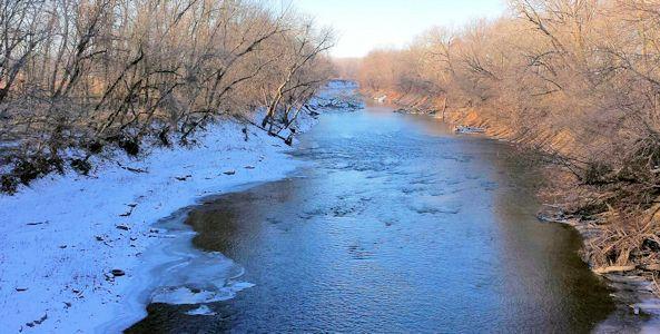 194 cfs at Neosho River at Neosho Rapids, KS on Dec. 27, 2013. Photo by Anita Kroska, USGS.