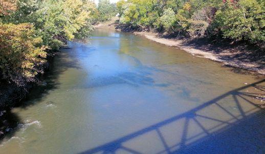 179 cfs at Neosho River at Neosho Rapids, KS on Oct. 21, 2013. Photo by Anita Kroska, USGS.