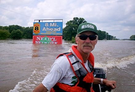 148,000 cfs at Neosho River at Parsons, KS on July 2, 2007. Photo by Dirk Hargadine, USGS.