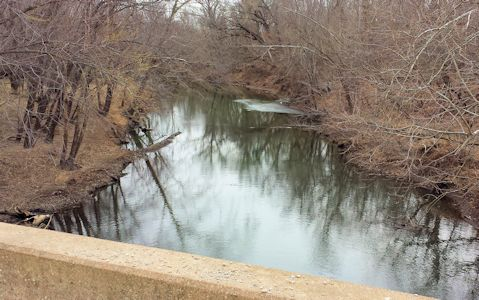 21 cfs at Cow Creek near Scammon, KS on Feb. 19, 2014. Photo by Arin Peters, USGS.