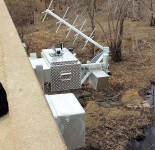 New gage at Cow Creek near Scammon, KS on Feb. 19, 2014. Photo by Arin Peters, USGS.